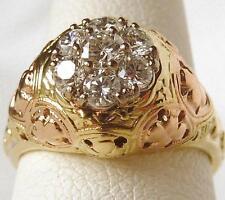 JABEL 14K Rose+Green Gold .50 Ct Diamond Engagement Ring~Sz 5~Vintage Inspired