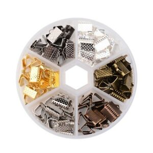 120pcs/Box Iron Ribbon Crimp Ends Pinch Clamp 6-Color Cord Fastener Clasp 10mm