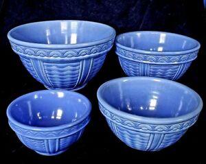 Fioriware Pottery 4 Pc Nest Mixing Bowls Zanesville Ohio Kitchenware Classics