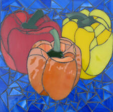 Mosaic Art Bell Peppers Hand Crafted Stained Glass