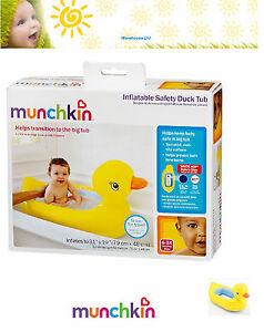 Munchkin Inflatable Duck Tub Baby Bath Temperature Dot Safety Headrest Non Slip