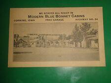 ZU848 Vintage Postcard Ad Modern Blue Bonnet Cabins Corning IA Vintage Ad