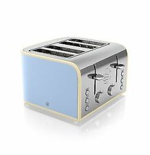 Swan Retro 1600w 4 Slice Wide Slot Toaster St17010bl Blue Only