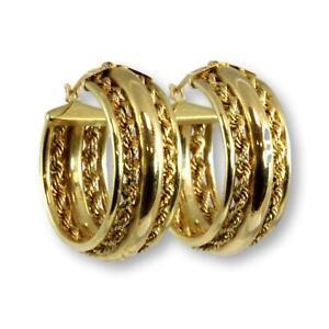 14K Yellow Gold Hoop Earrings w/Twisted Rope Design