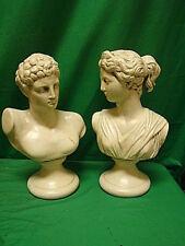 "Hermes & Artemis Busts Ancient Greece Greek Godess God Statue Distressed 12"""