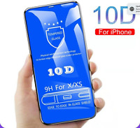 IPHONE 11 PRO X & XS 10D FULL COVER 3D TEMPERED GLASS SCREEN PROTECTOR