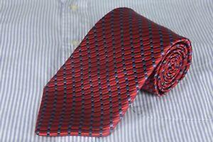 Jos A Bank Signature Men's Tie Red & Blue Geo Woven Silk Blend Necktie 58 x 4