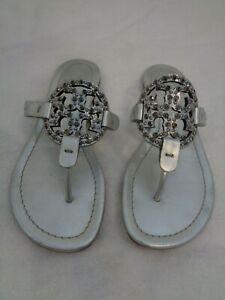 Tory Burch Miller silver rhinestones Leather Embellished Logo Sandals US 6.5
