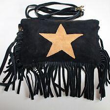 Schultertasche Umhängetasche Fransentasche Leder Tasche Handtasche Schwarz