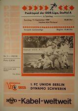 Programm 1989/90 Union Berlin - Dynamo Schwerin