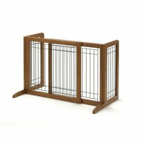 Richell Freestanding Step-Over Pet Gate,  Natural Wood  FREE SHIPPING