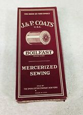 J & P Coats Boilfast Mercerized Sewing Thread Box Only T39