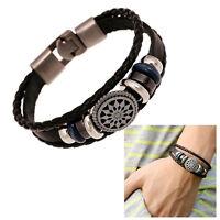 Fashion PU Vintage Infinity Charm Wrap Men Women Bracelet Jewelry Punk Style FO