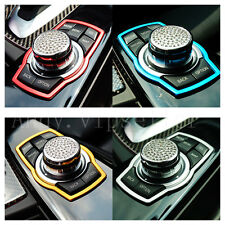 1Pcs Car Red Multimedia Rotating Luxury Stainless Steel Button Decoration Ring