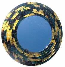 "Mirror Mosaic Glass Hand Made ""Green Fantasy"" Wall Mount 16"" Home Decor (507)"