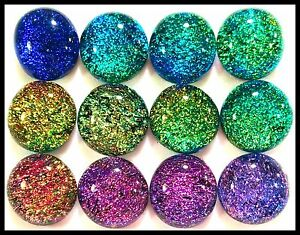 Lot of 12 SPLASH ASSORTED LARGE Fused Glass DICHROIC Cabochons NO HOLE Beads