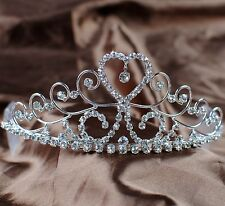 Heart Tiaras Hair Combs Clear Crystal Crowns Bridal Pageant Prom Party Handmade