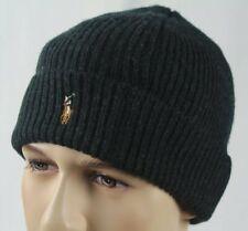 Polo Ralph Lauren Green Merino Wool Cuff Beanie Hat Skull NWT