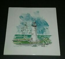 Hand Painted Ceramic Tile Nautical Lighthouse Ocean Cape Beach Decor Large 8 in