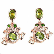 ceb3e58fa Natural AAA Apple Green Peridot & Green Cz 925 Sterling Silver Frog Earrings