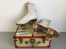 VTG Chicago Hyde Women Roller Skates White No 87 Wood Wheels with Case