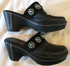 ARIAT Black Leather Silver Studded Wedges Flower Clogs Mules Bootys Women Sz 10B