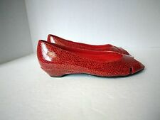 Soft Style Hush Puppies Womens US 7 M Red Man Made Patent Leopard Peep Toe Shoes