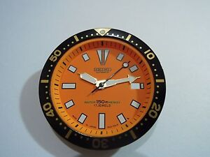 NEW SEIKO REPLACEMENT ORANGE DIAL / HANDS / INSERT FITS SEIKO 7002 DIVER'S WATCH