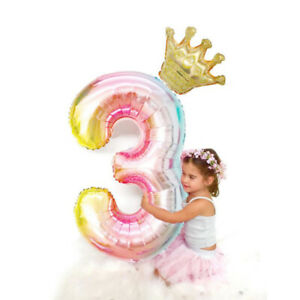 40 inch Gradient Pink Digital Crown Balloon Birthday Party Decorationy3