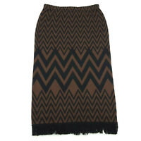 Nina Leonard Womens Size Large Long Pencil Skirt Black Brown Chevron, Fringe Hem