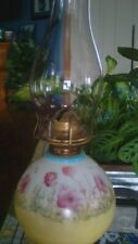New listing Antique Unique And Beautiful Rare Oil Lamp brass colored base with soft florals