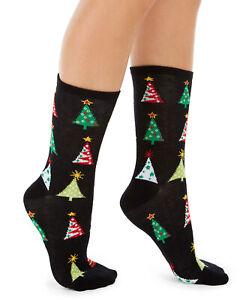 Womens Holiday Christmas Tree Crew Socks Black 1 Pair CHARTER CLUB - NWT