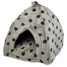 Pet Igloo Soft Fleece Polka Dot Kitten Puppy Cave Bed Padded Cat House Petface