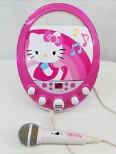 HELLO KITTY Karaoke Machine WITH MIC CD PLAYER WHITE/PINK Flashing Lights TESTED