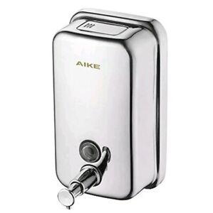 AIKE AK1001 Wall Mount Manual Pump Soap Dispenser 34 oz Stainless Steel New