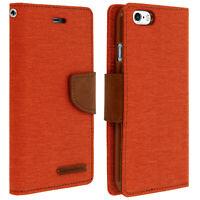 Étui portefeuille Modèle Canvas en tissu Orange pour Apple iPhone 6 et 6s