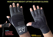 AUSTODEX LEATHER GYM GLOVES FITNESS WEIGHT LIFTING TRAINING BODYBUILDING STRAPS