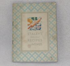 Staley's Syrup Selected Ice Cream Pie Cup Cake Recipes Menus Cook Book Booklet