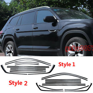 2018-2019 For Volkswagen Atlas Stainless Black Side Window Trim Strip Cover 12PC