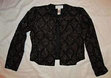 OLEG CASSINI BLACKTIE evening silk beaded embroidered stunning jacket M petite *