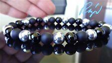 "Silver Hematite w/ Black Matte, Smooth Onyx Bead Bracelet Men (Stretch) 8mm - 8"""