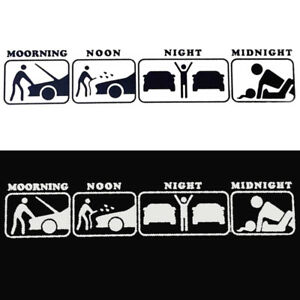 Funny Creative PET Cute Car Sticker Decal Morning Noon Night Car Funny Life