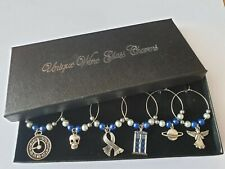 DR WHO SET OF SIX WINE GLASS CHARMS, COMPLETE WITH BOX & FAST FREE POSTAGE