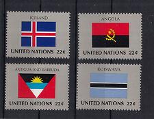 469 ) UNO New York Flags 1986 -  Iceland, Antigua - Barbuda, Angola and Botswana
