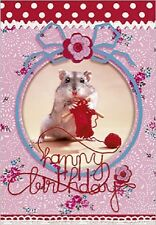 Carte de voeux joyeux anniversaire Hamster tricot  10 cm x 7 cm birthday card