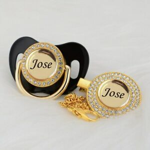 Personalized Any Name Can Make BPA FREE Gold Bling Pacifier And Pacifier Clip