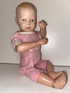 "Antique Schoenhut Wooden Doll 14"" Babyfaced Toddler"