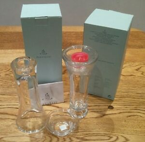 """Partylite glass 7"""" 18cm CLARITY Taper Tea light Holder Vase party light Candle"""