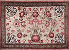 100% Silk Chinese Floral Semi-Antique Hand-knotted Ivory Oriental Area Rug 2x3