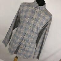 David Donahue XL Shirt Tan BLue Checkered Plaid Button Down Front Mens L/S F2